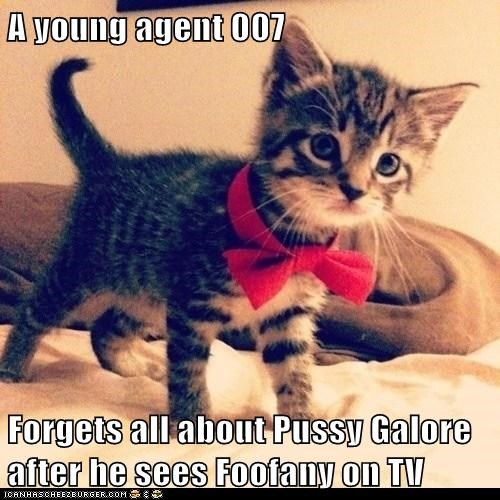A young agent 007  Forgets all about pu**y Galore after he sees Foofany on TV