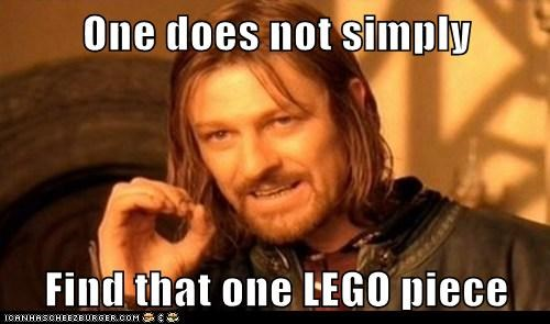 One does not simply  Find that one LEGO piece