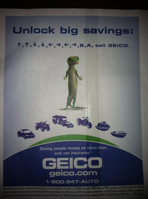 Haha! Look! It's a Video Game Cheat Code! As a Video Game Playing Youth, GEICO Gets Me!