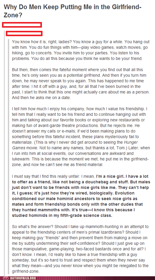 A Rebuttal to All Friend-Zone Complainers
