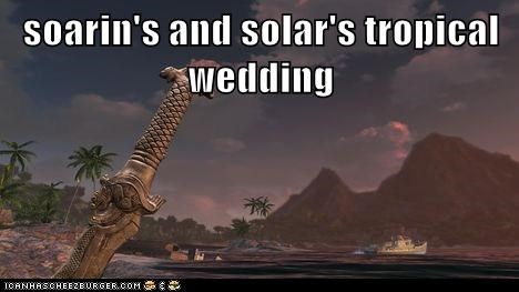 soarin's and solar's tropical wedding