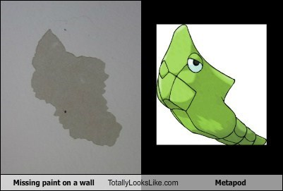 Missing Paint on a Wall Totally Looks Like Metapod