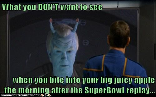 What you DON'T want to see  when you bite into your big juicy apple the morning after the SuperBowl replay...