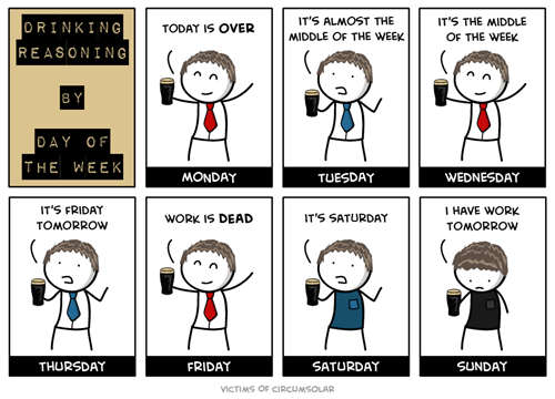 drinking,days of the week,FRIDAY,comics,mondays,funny,webcomics,monday