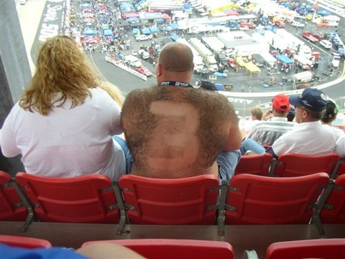 nascar,shaving,hairy men,hairy backs,funny