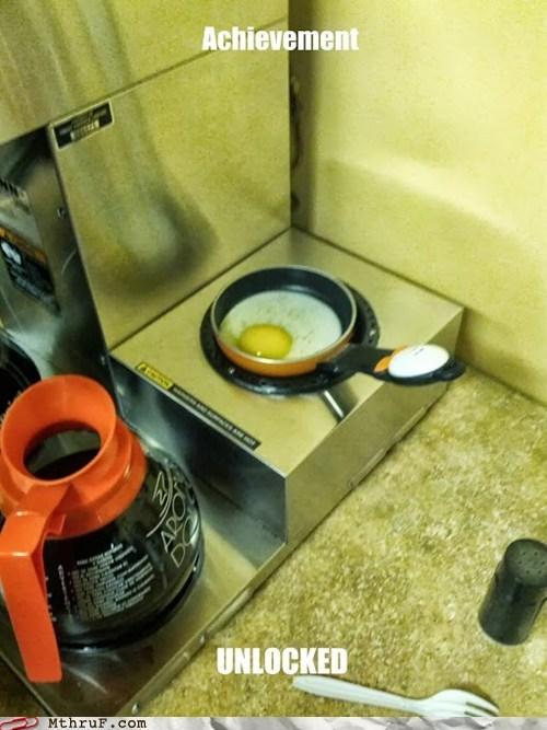 breakfast,coffee maker,coffee pot,eggs,coffee,funny