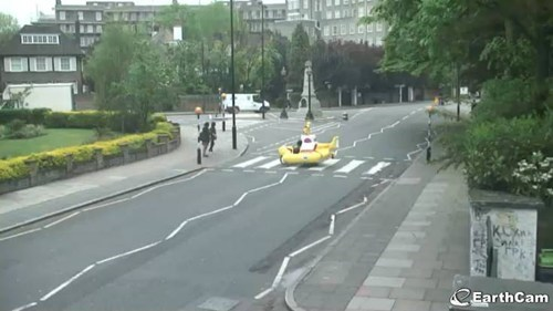 A Yellow Submarine Crosses Abbey Road