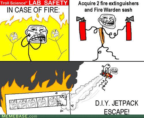 troll physics,fire escape,fire,fire extinguisher,funny,jetpack