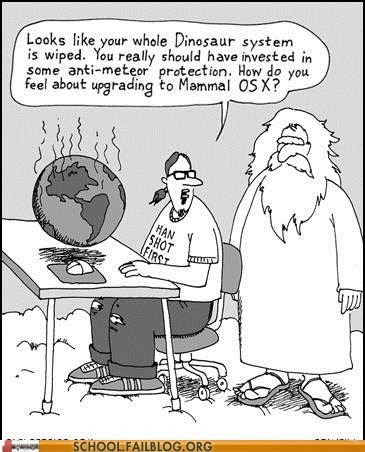 god,dinosaur,comic,science,far left side,funny