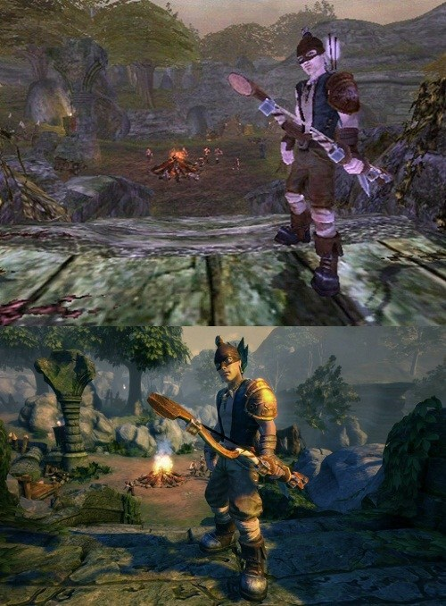 Screenshot Comparison of the First Fable Next to the HD Remake