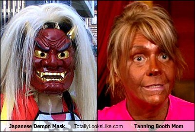 Japanese Demon Mask Totally Looks Like Tanning Booth Mom