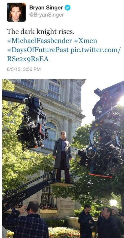 Check Out Michael Fassbender Floating on the Set of Days of Future Past