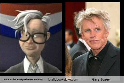 Back at the Barnyard News Reporter Totally Looks Like Gary Busey