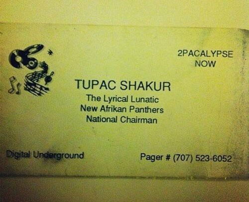 Tupac Shakur's First Business Card
