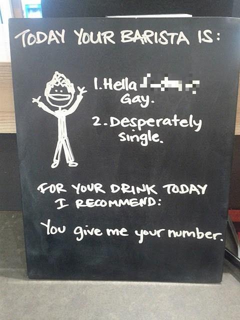 lgbtq,sign,barista,pick-up lines,funny