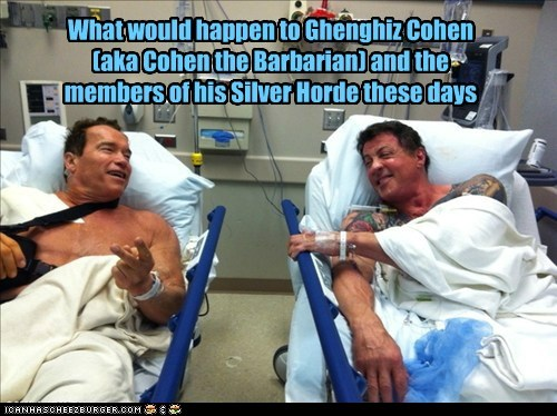 What would happen to Ghenghiz Cohen (aka Cohen the Barbarian) and the members of his Silver Horde these days