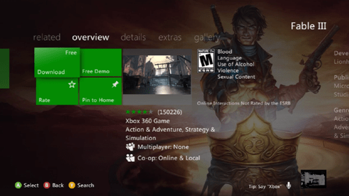 Fable III is Free on Xbox Live