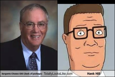 Sargento Cheese CEO (back of package) Totally Looks Like Hank Hill