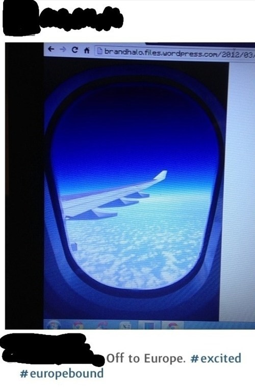 Protip: When Lying About Going on a Trip, Remember to Crop Out the URL of the Stock Photo You're Using