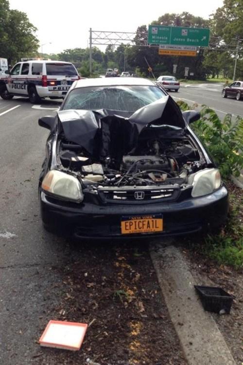 cars,crash,irony,license plate,funny,fail nation
