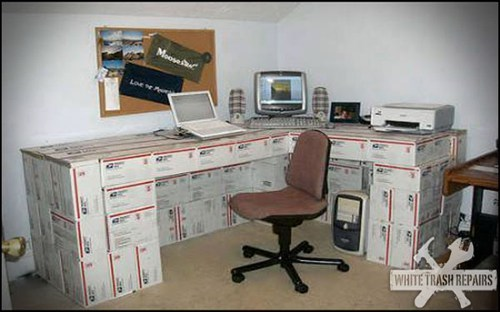 Desk Made of Free USPS Boxes: Easy to Move!