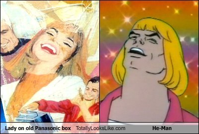 Lady on Old Panasonic Box Totally Looks Like He-Man