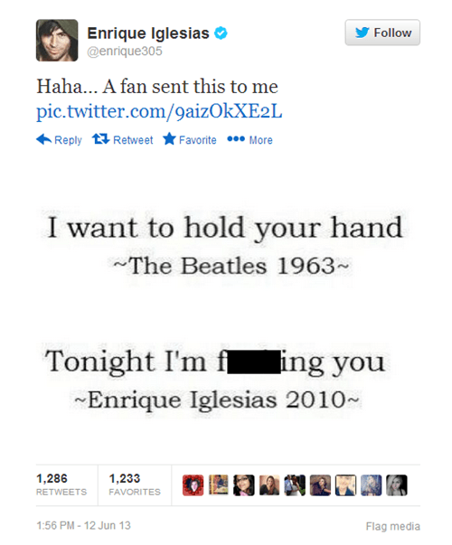 the Beatles,Music,twitter,enrique iglesias,romance,song lyrics,funny