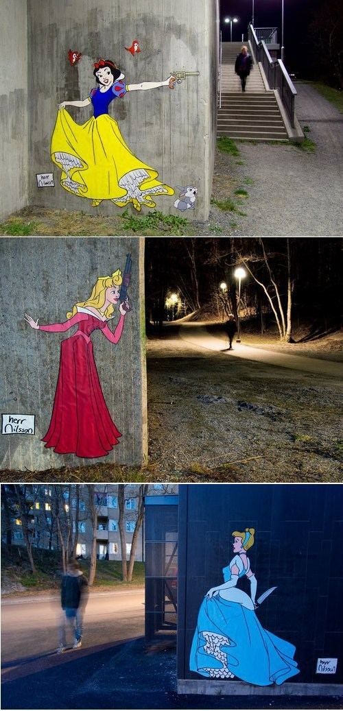 Disney Princesses Get Dangerous in Herr Nilsson's Street Art