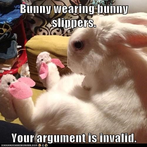 Bunny wearing bunny slippers.  Your argument is invalid.