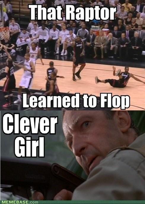 chris bosh,sports,clever girl,flopping,basketball