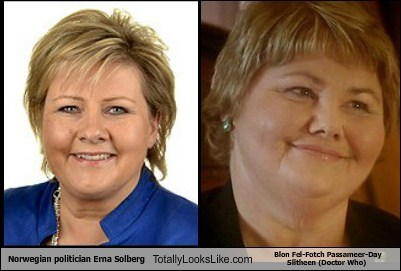 Norwegian Politician Erna Solberg Totally Looks Like  Blon Fel-Fotch Passameer-Day Slitheen (Doctor Who)