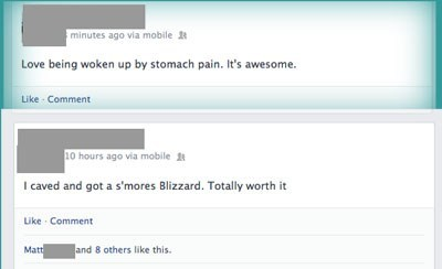 blizzard,dq,dairy queen,stomach ache,cause and effect