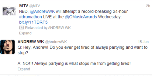 andrew wk,Music,twitter,world record,drums,g rated
