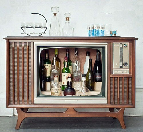 Don't Know What to Do With Your Old TV? Liquor Cabinet