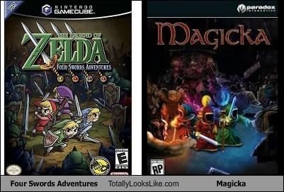 link,legend of zelda,Videogames,totally looks like,four swords,magicka,funny