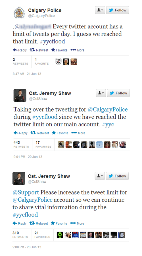 Twitter Shuts Down Calgary Police's Account During a Flood Emergency Because They Had Reached Their Daily Maximum Number of Tweets