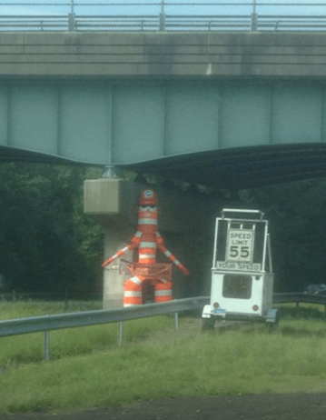 cone monster,highway,traffic cones