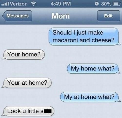 mac'n'cheese,texts,trolling your parents,funny,AutocoWrecks