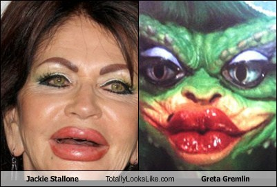 jackie stallone,gremlins,totally looks like,greta gremlin,funny