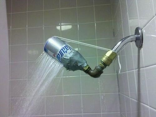 bathrooms,beer cans,showers,funny,g rated,there I fixed it