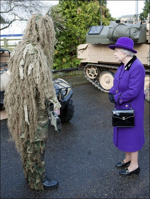 queen elizabeth,ghillie suits,wtf,sad but true,funny