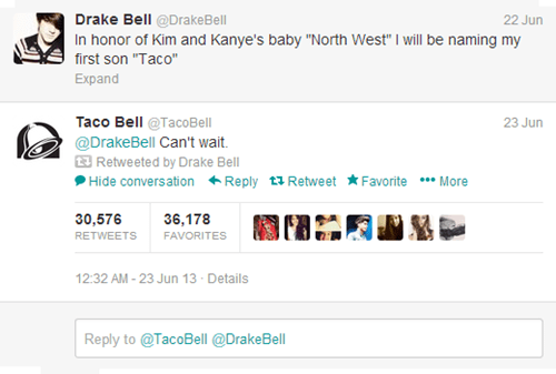 taco bell,twitter,drake bell,kanye west,north west