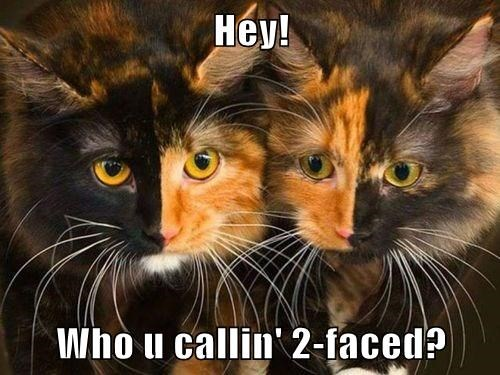 Hey!  Who u callin' 2-faced?