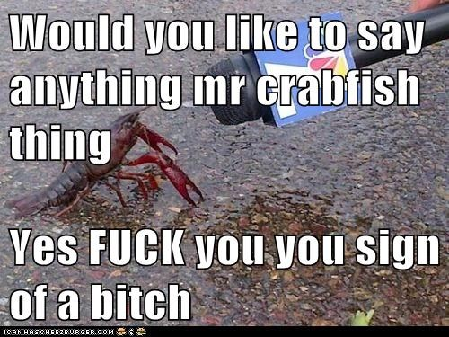 Would you like to say anything mr crabfish thing  Yes f*ck you you sign of a b*tch