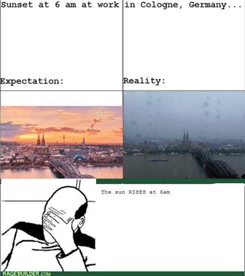 cologne,facepalm,Germany,sunrise,sunset