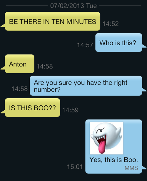 wrong number,boo,text,funny