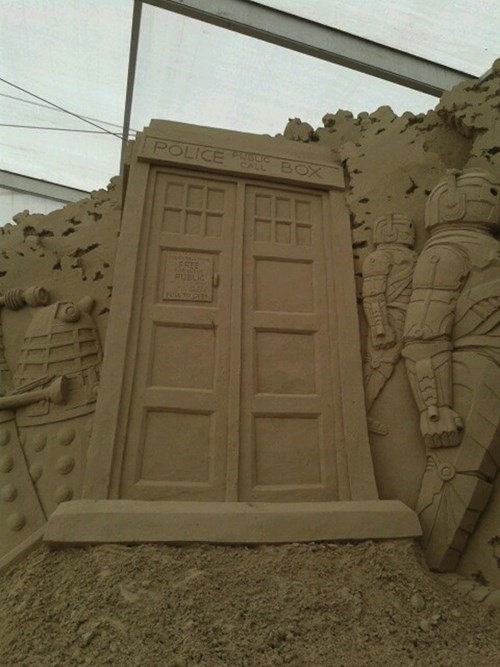 sand sculpture,beach,nerdgasm,doctor who