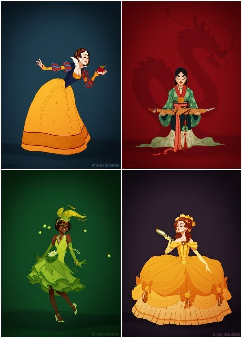 Fan Art of the Day: Disney Princesses in Historically Accurate Clothes