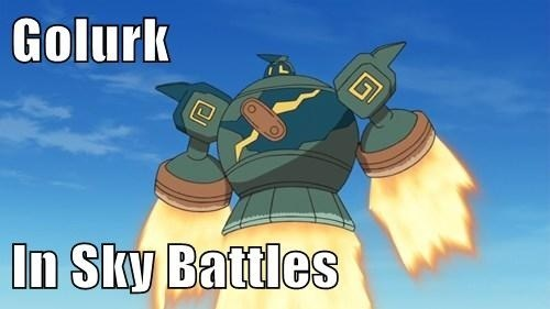 sky battles,golurk,flying