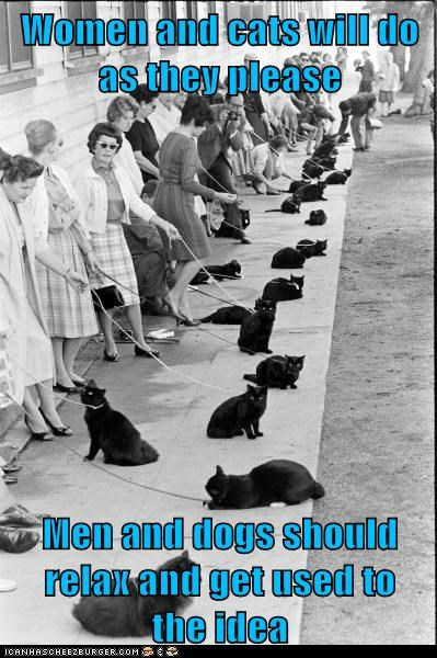 Women and cats will do           as they please  Men and dogs should         relax and get used to                    the idea